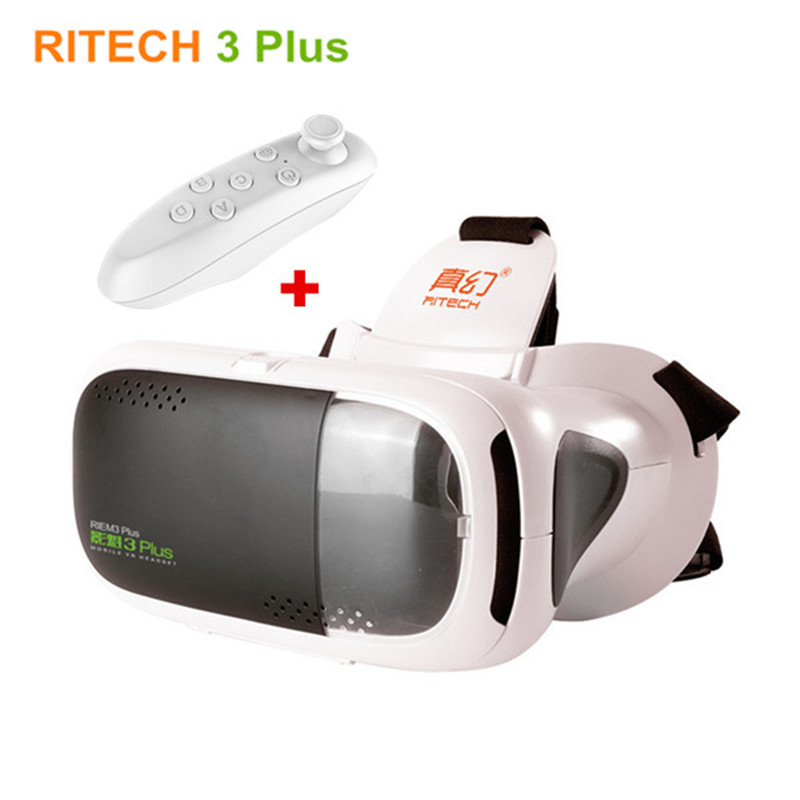 цена RITECH III RIEM 3 Plus Virtual Reality 3D Glasses VR Headset Helmet Cardboard Mobile Phone Video Cinema+Remote Control