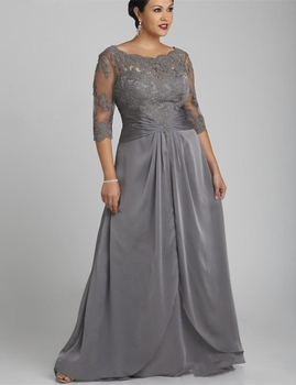 2020 Popular Style Plus Size Gray Mother of the Bride Dress 3/4 Sleeve Scoop Neck Lace Chiffon Floor Length Formal Gowns Custom