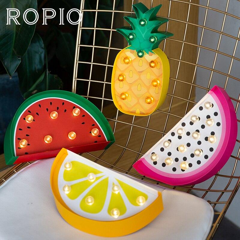 ROPIO LED Night Lights 3D Paperboard Night Lamp Marquee Neon Light Cactus Bird Fruit Ice Cream Desk Lamp Home Children's Gift