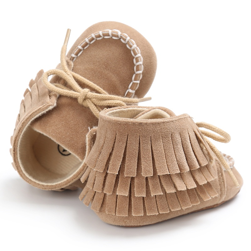 Baby Shoes Girls Boys Moccasins Soft Shoes Fringed First Walkers Lace-Up High Top Stitched Sneakers