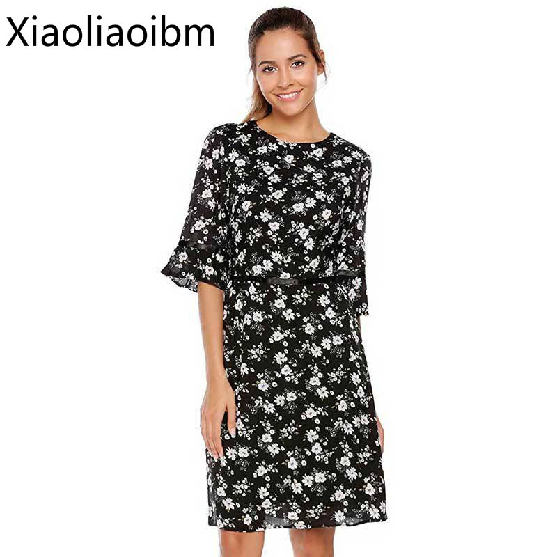 European Summer New Pattern Woman Chiffon Round Neck Printing Dress A Word In Sexy Fashion Dress
