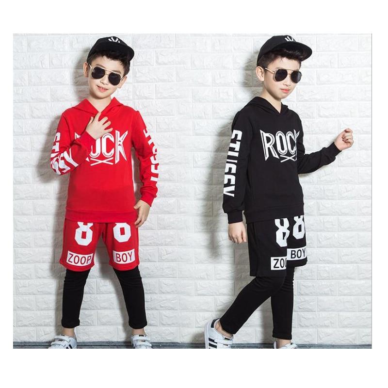 Black Jazz Rock Cloth Hip Hop Costume Children's Clothing Set Outfit Boys Long Sleeve Sports Suit Kids Hoodies + Pants 2 Pcs Set цена