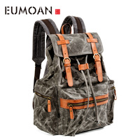 EUMOAN Waterproof canvas with leather shoulder bag, male fold casual travel bag, men's Sports outdoor shoulder backpack
