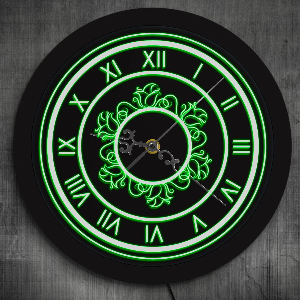 Vintage Roman Numeral Clock With Floral Pattern LED Laser Engraved Numerics Numbers Decorative Wall Watch With LED Backlights