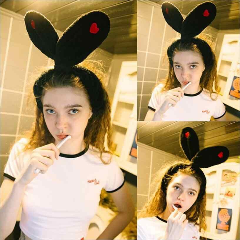 רקמת אהבה חמוד ארנב חתול אוזני סרט עבור נשים איפור פנים כביסה מתנת בנות אלסטיות שיער BandsTools שיער אבזרים