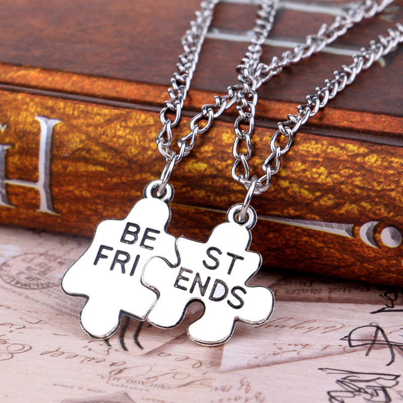 2pcs/set Fashion Style Friendship Necklace Silver Best Friend Puzzle Necklace For Women Fine Jewelry