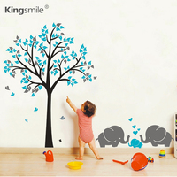 Modern Elephants Hearts Tree Vinyl Wall Sticker Removable Nursery Tree Art Decals Mural Wall Stickers for Kids Rooms Home Decor