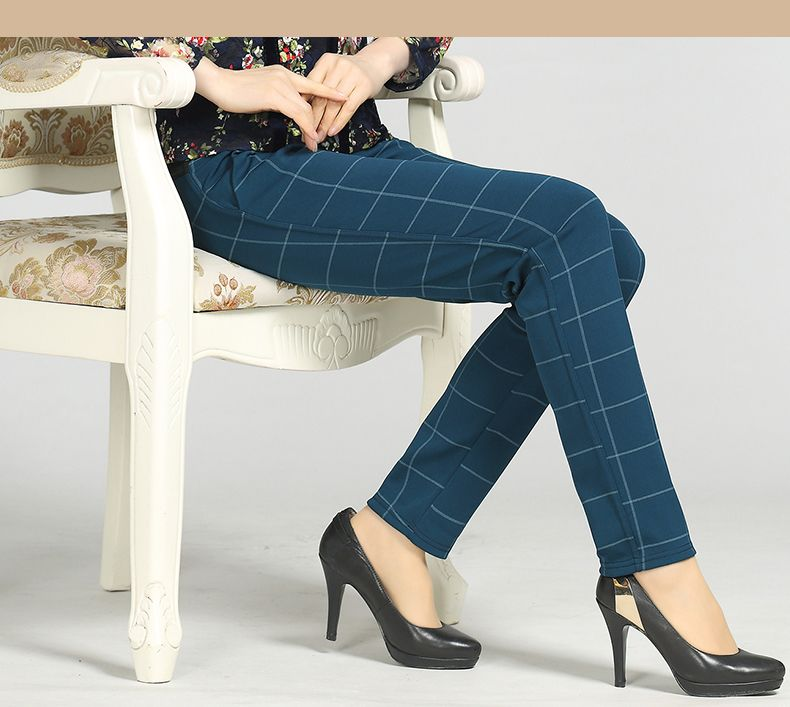 Woman Casual Pant Navy Blue Green Black Plaid Trousers Women Spring Autumn Winter Trouser High Waist Elastic Band Pantalonese Mujer  (21)