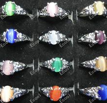 300 шт новые модные кольца кошачий глаз с опалами и серебряным