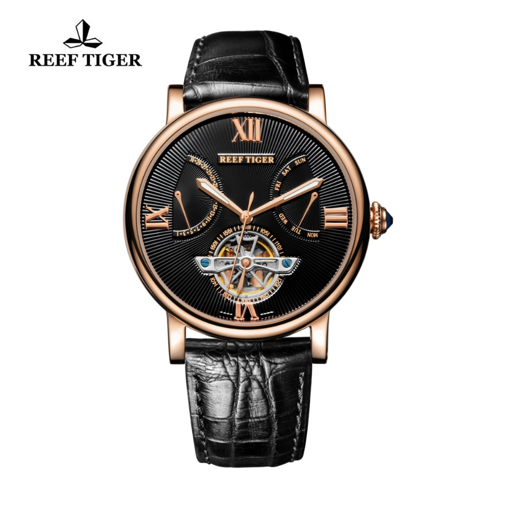 Reef Tiger/RT Luxury Tourbillon Watch Men Rose Gold Automatic Mechanical Watch Date Day Luminous Designer Watches 2019 RGA191Reef Tiger/RT Luxury Tourbillon Watch Men Rose Gold Automatic Mechanical Watch Date Day Luminous Designer Watches 2019 RGA191