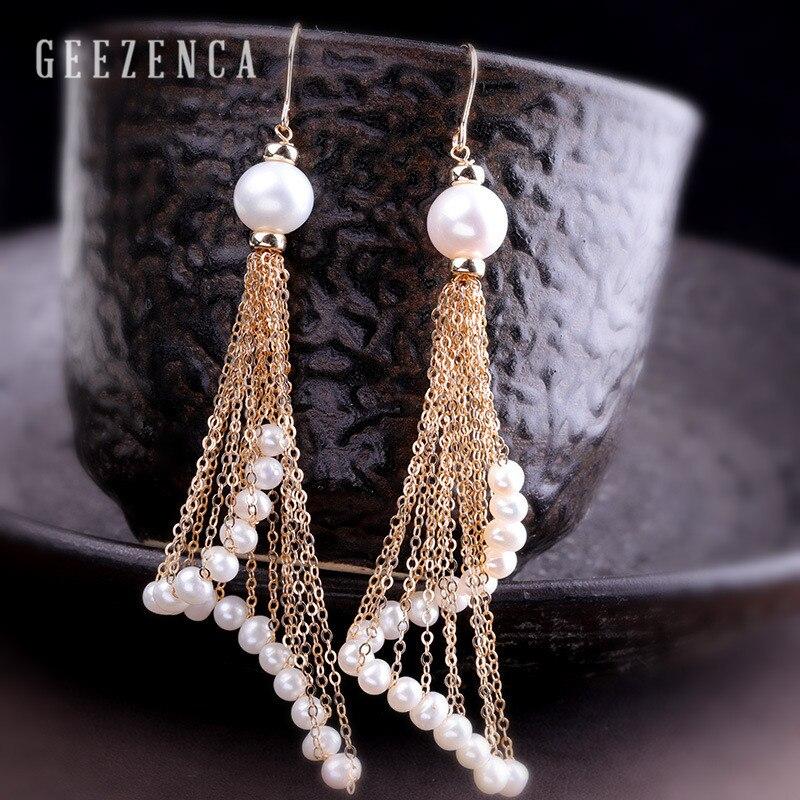 925 Sterling argent 14K rouleau or longue chaîne glands Baroque perle boucles d'oreilles pour les femmes artisanat bohême Dangle boucle d'oreille à la mode