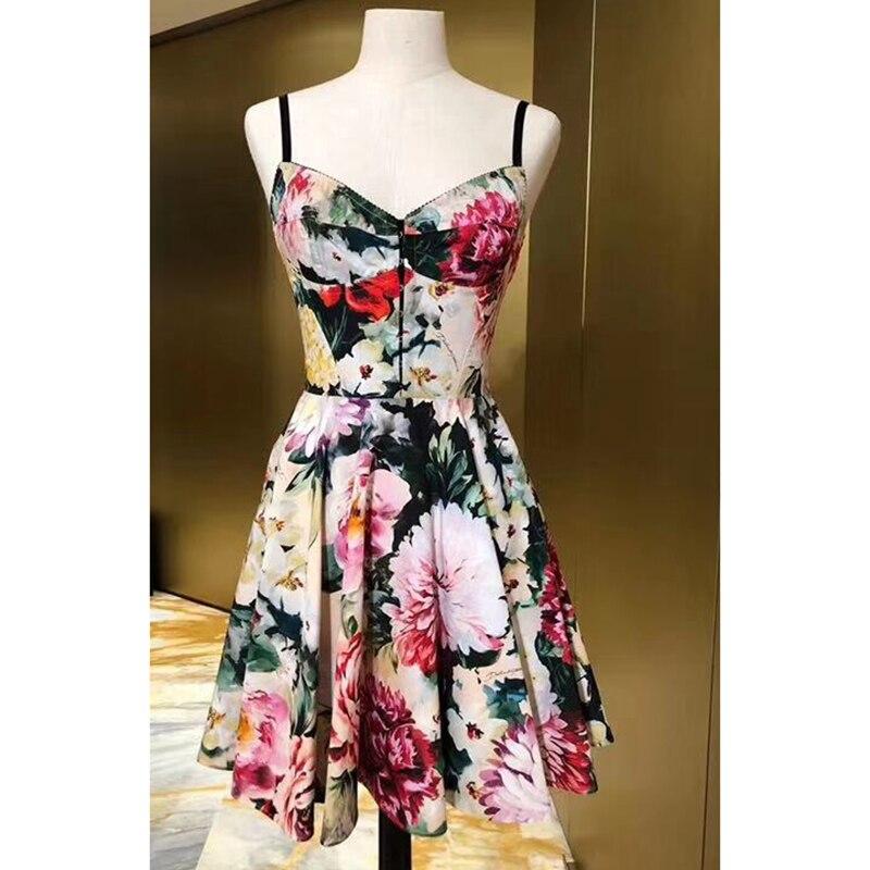 Пляжное летнее платье с цветочным принтом boho sling сексуальное платье 100% хлопок Принт v образный вырез линия Слинг платье 2019 новое мини платье