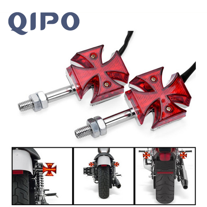 Dc 12v Universal Led Motorcycle Quads Maltese Cross Tail Brake Lamps Rear Lights Automobiles & Motorcycles