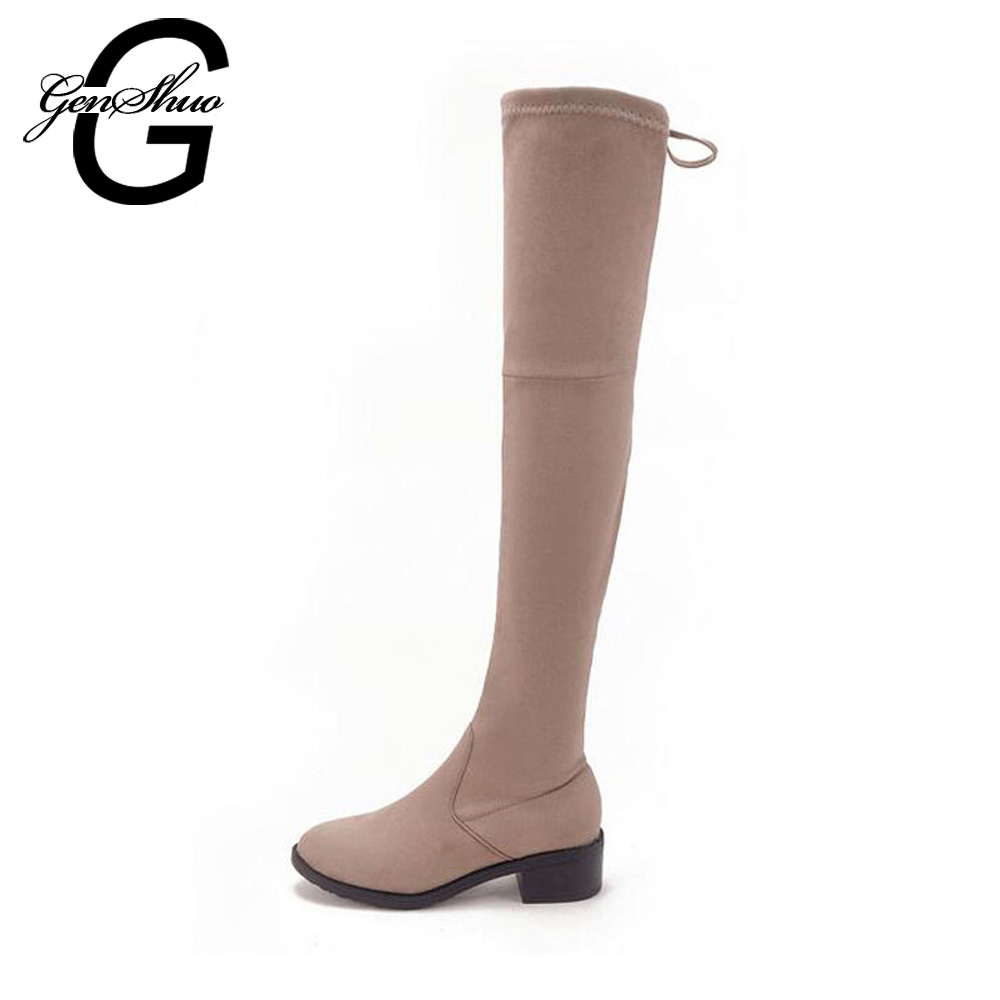 07c830bf6a78 GENSHUO 4CM Mid Heel Boots Women Knee High Winter Boots Elastic Band Women  Boots Fashion Spring Autumn Boots for Women