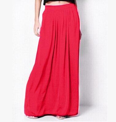 Женская длинная юбка в стиле знаменитостей пастельных конфетных цветов, плиссированная юбка размера плюс для женщин, юбки синего, зеленого, розового, красного цветов - Цвет: Красный