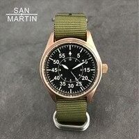 Сан Мартин Для мужчин бронза пилот автоматические часы Винтаж наручные часы для ныряния 200 м водостойкой Relojes сапфир Стекло Hombre 2018