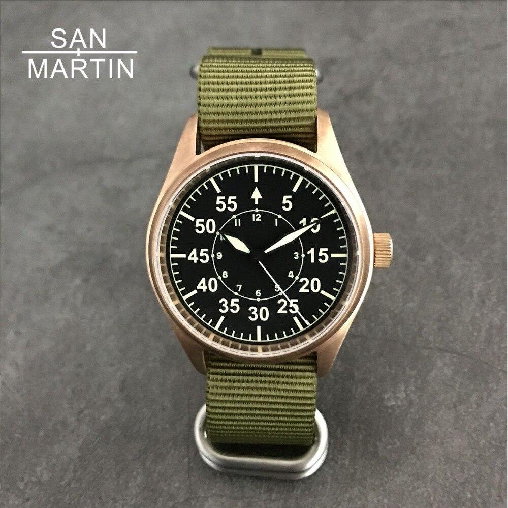 Сан Мартин для мужчин Бронзовый пилот автоматические часы Винтаж наручные часы для ныряния 200 м водостойкий Relojes сапфир стекло Hombre 2018