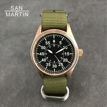 San Martin мужские бронзовые автоматические часы пилот винтажные наручные часы для дайвинга 200 м водонепроницаемые Relojes сапфировое стекло Hombre 2018