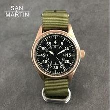 San Martin Men Bronze Pilot Automatic Watch Vintage Diving Wristwatch 200m  Water Resistant Relojes Sapphire Glass Hombre 2018 ee85ae14bcb3