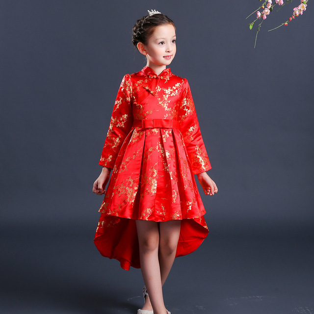Red Kids Birthday Party Dresses Qipao S Tailing Children Princess Dress Traditional Chinese New Year