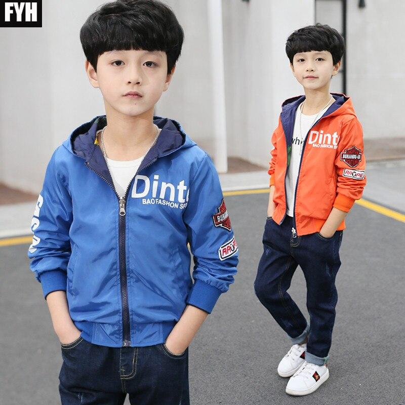 Fyh детская одежда осень-весна Обувь для мальчиков пальто с капюшоном Детские Обе стороны носить Куртки подросток Повседневное куртка для ма...