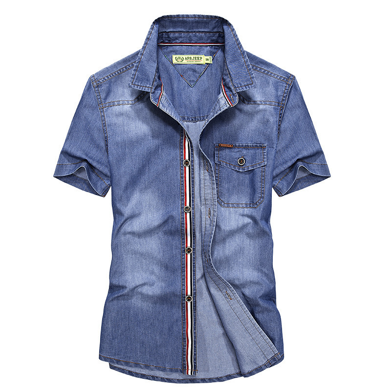2019 Summer Shirt Man New Style Men's Denim Men\x27s Short Sleeve Shirt Leisure Cotton Men's Shirt Jeans Shirt For Men 1759