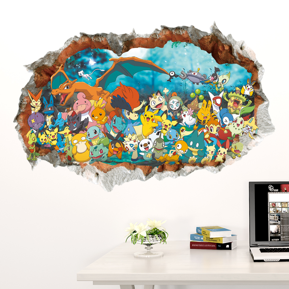 3D Game Decorative Wall Sticker Kids Baby Nursery Bedroom Mural Poster , child, Boy, Bedroom, Pokemon Go, Pikachu Decor