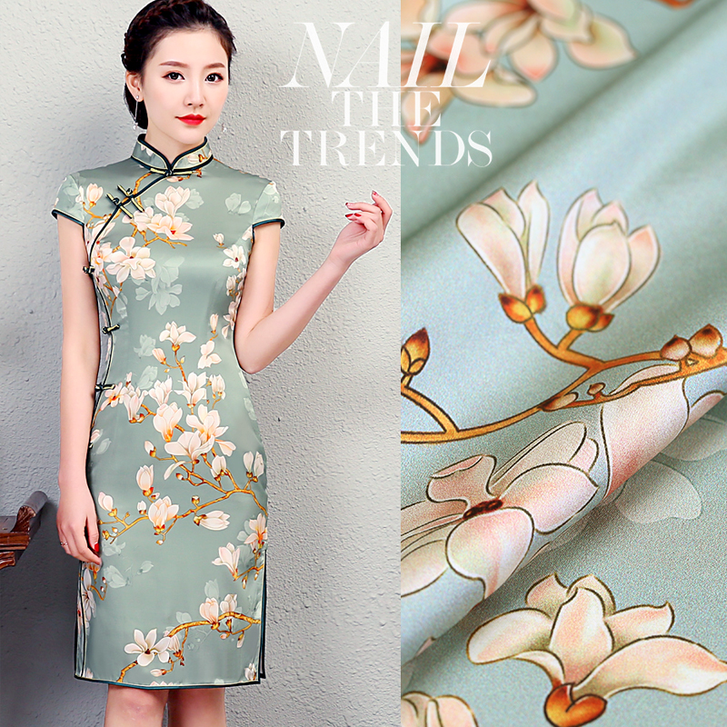 2018 nova flor de magnólia pintura digital esticar tecido de cetim de seda para o vestido de verão de pelúcia tecido tissus au metro vestido tela
