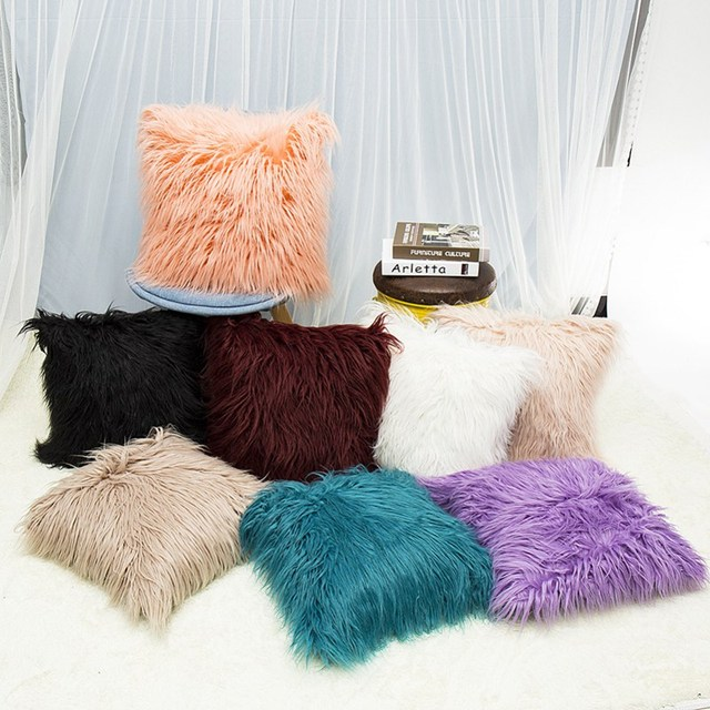 Super Soft Plush Mongolian Faux Fur Throw Pillow Cover Winter Warm Custom Winter Throw Pillow Covers