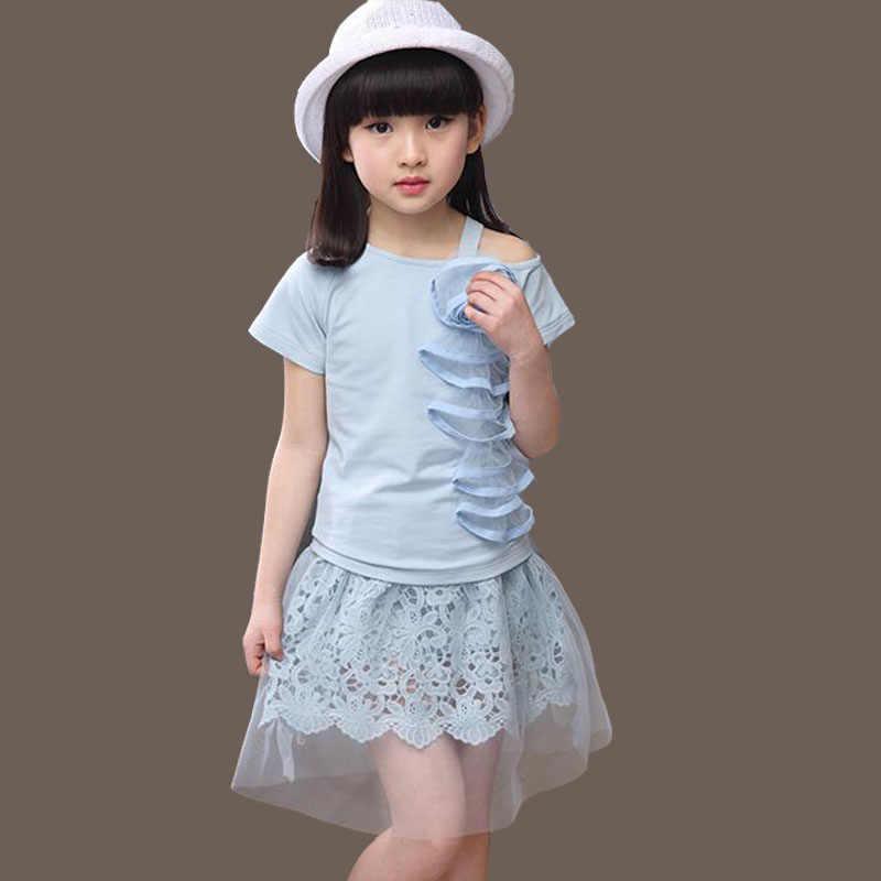 49c36ffa02 Children's Wear Girls' Summer Sets 10-12 Year Old Girls' Children's Suit  Fashoin Two-piece Sleeveless Vest T-shirt + Lace Skirt