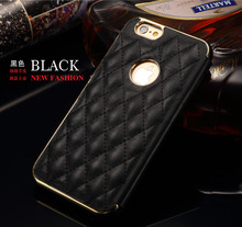 Plaid Stylish Exquisite Luxury Leather Flip Cover Case for Apple iPhone 6 4.7 & 6 Plus Slim Metal Aluminum frame Phone Bag Cases
