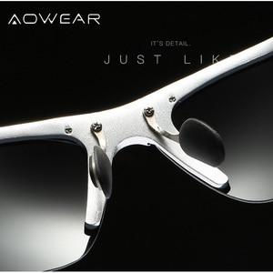 Image 4 - AOWEAR lunettes de soleil polarisées pour hommes, HD, Anti éblouissement, monture en aluminium, pour la conduite, la pêche, sport, plein air
