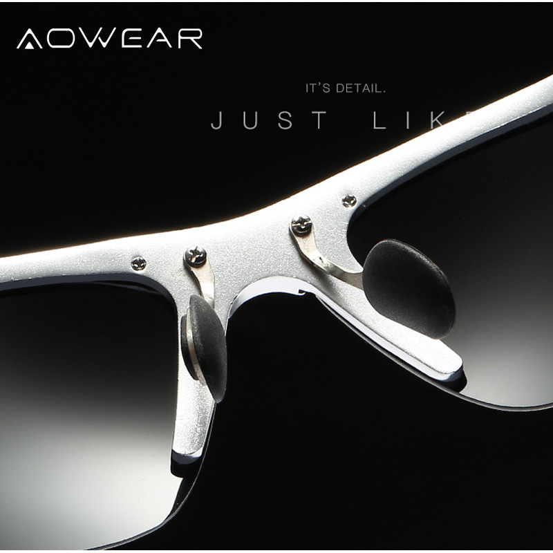 Image 4 - Aowear男性hd偏光サングラスメンズアンチグレアミラー太陽メガネアルミフレームスポーツ屋外運転釣り眼鏡polarized sunglasses menpolarized sunglasseshd polarized sunglasses -