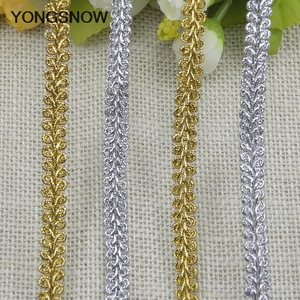 5m Gold Silver Lace Trim Ribbon Curve Lace Fabric Sewing Centipede Braided Lace Wedding Craft DIY Clothes Accessories Xmas Decor