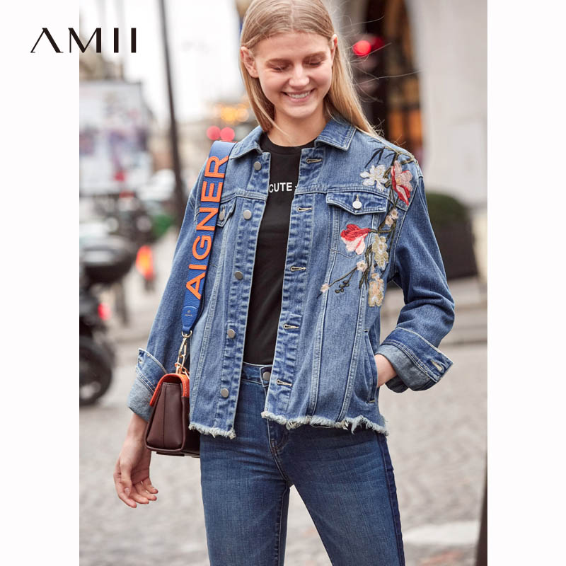 Amii Vintage Embroidery Denim Jackets Women Spring New 2018 Causal Frayed Loose Female Shorts Denim Coat
