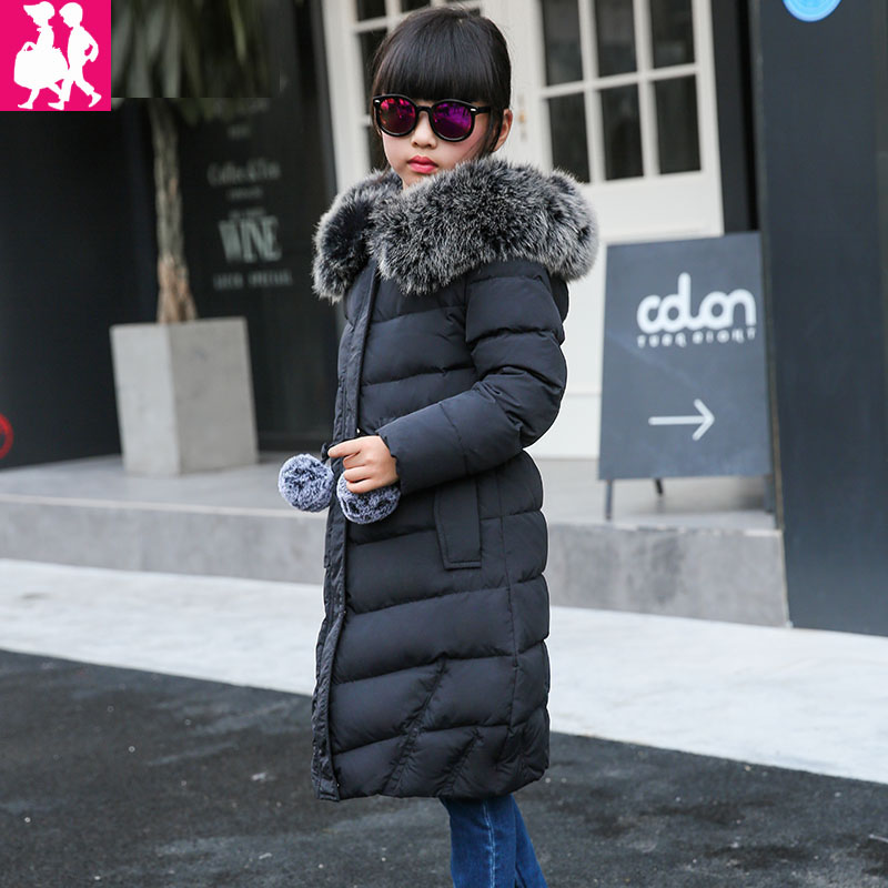 winter girls Down jackets for girl long warm big girl 2017 new thick coat outerwear hooded Artificial fur collar parka overcoat plus size winter jacket parka women long coat big hooded fur collar loose female clothes thick warm woman jackets ladies coats