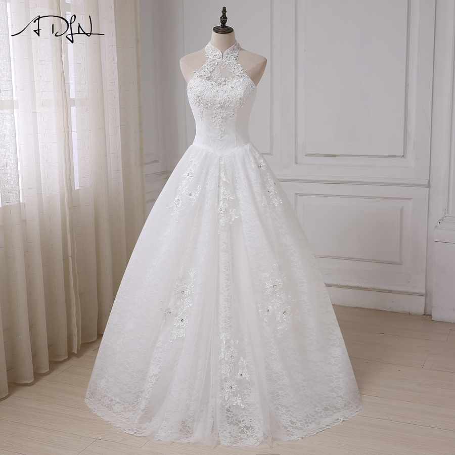ADLN Vintage Wedding Dress Halter Sleeveless Applique Beading Lace Wedding Gowns A-line Long Bride Vestido De Novia