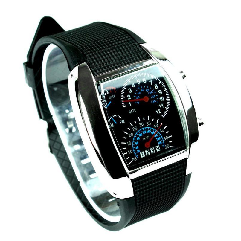 Men Watch Sports RPM Turbo Flash LED Car Speed Meter Dial Men Gift Wristwatch Black Erkek Saatleri Wristwatch Mens Male Clock