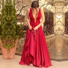 Sexy czerwone suknie wieczorowe 2018 eleganckie satynowe suknie wieczorowe długie formalne sukienka wieczorowa Abiye prom party sukienki Vestido Longo Festa tanie tanio Uroczyste wieczory Trapezowa BERY MIŁOŚĆ Bez rękawów Satyna Zamiatanie pociągu Serek Backless Naturalne Suknie Studniówkowe suknie wieczorowe