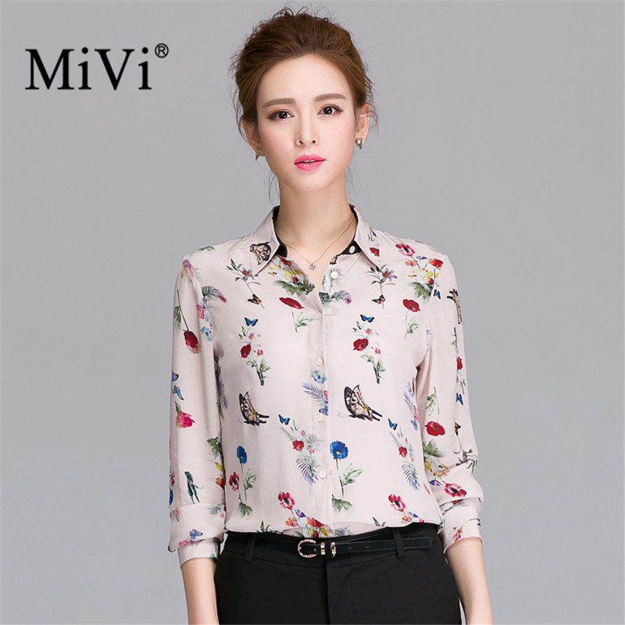 caa1a5c75 MIVI Summer Women Real Silkworm Silk Shirts Half Sleeve Floral Printed  Vintage Blouse Bowknot Elegant Ladies Office Tops