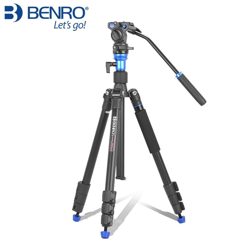 все цены на BENRO Tripod Kit Aero 2 A1883fS2c Professional Aluminum Tripod For Video Camera 3D Fluid Head Videotape Dual-use онлайн
