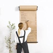 Modern Design Wall Mounted hand writing painting message kraft paper drawing board loft coffee shop menu kids Rack