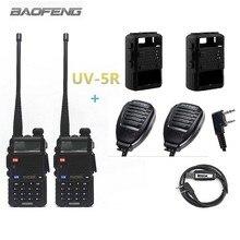 2 pcs BAOFENG UV-5R walkie talkie radios sets +2pcs baofeng speaker mic microphone +2pcs silikon case+1pcs programming cable