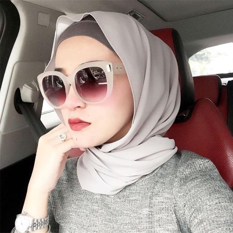 2019 Fashion Women Solid Chiffon Headscarf Ready To Wear Instant Hijab Scarf Muslim Shawl Islamic Hijabs Arab Wrap Head Scarves