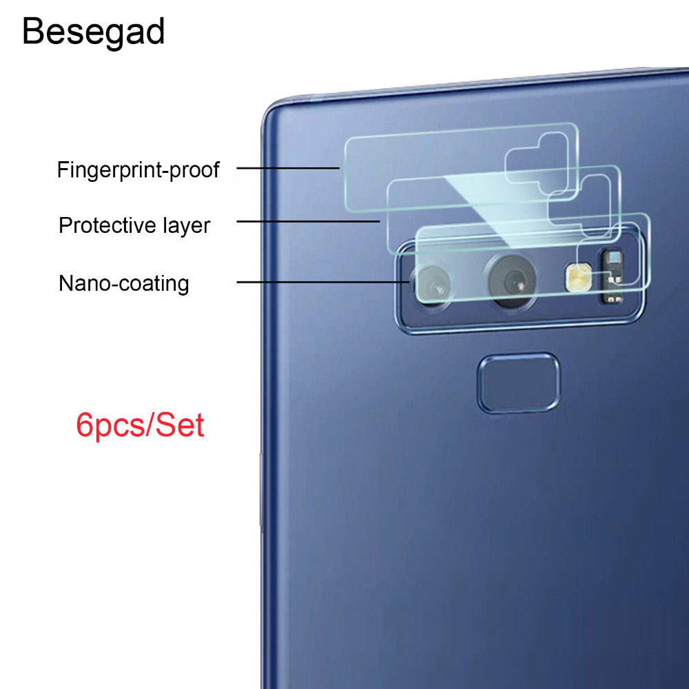 Besegad 6pcs Ultra-Thin High Definition Anti-Scratch Camera Lens Tempered Glass Protector For Samsung Galaxy Note 9 Note9 Gadget