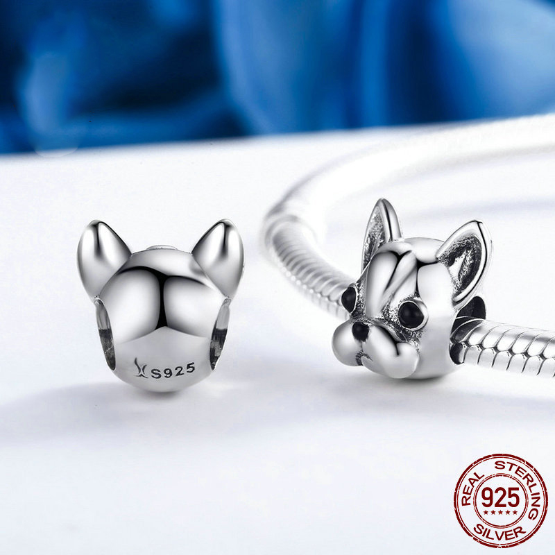 Genuine 925 Sterling Silver Black Enamel French Bulldog Doggy Animal Charms Beads Fit Bracelet DIY Jewelry Making