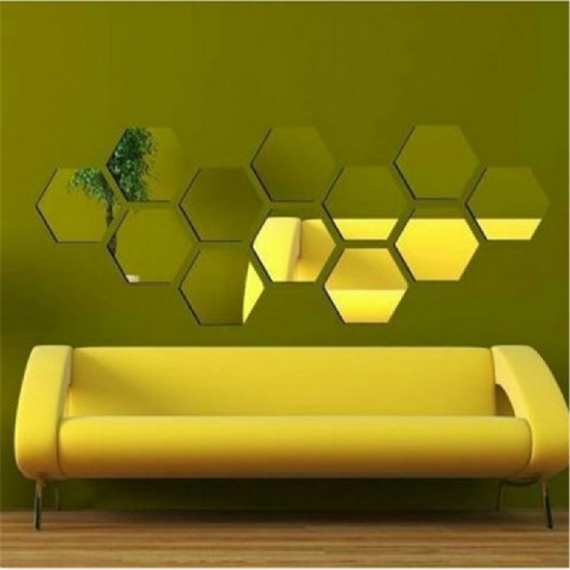 12Pcs 3D Hexagon Mirror Wall Stickers Bedroom Decals Removable Home ...