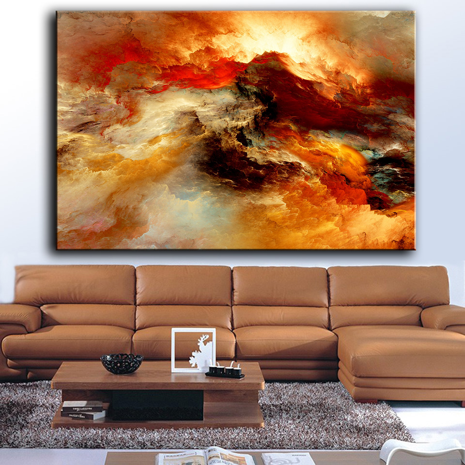 living room art canvas hdartisan painting abstract clouds 5437 wall 17415