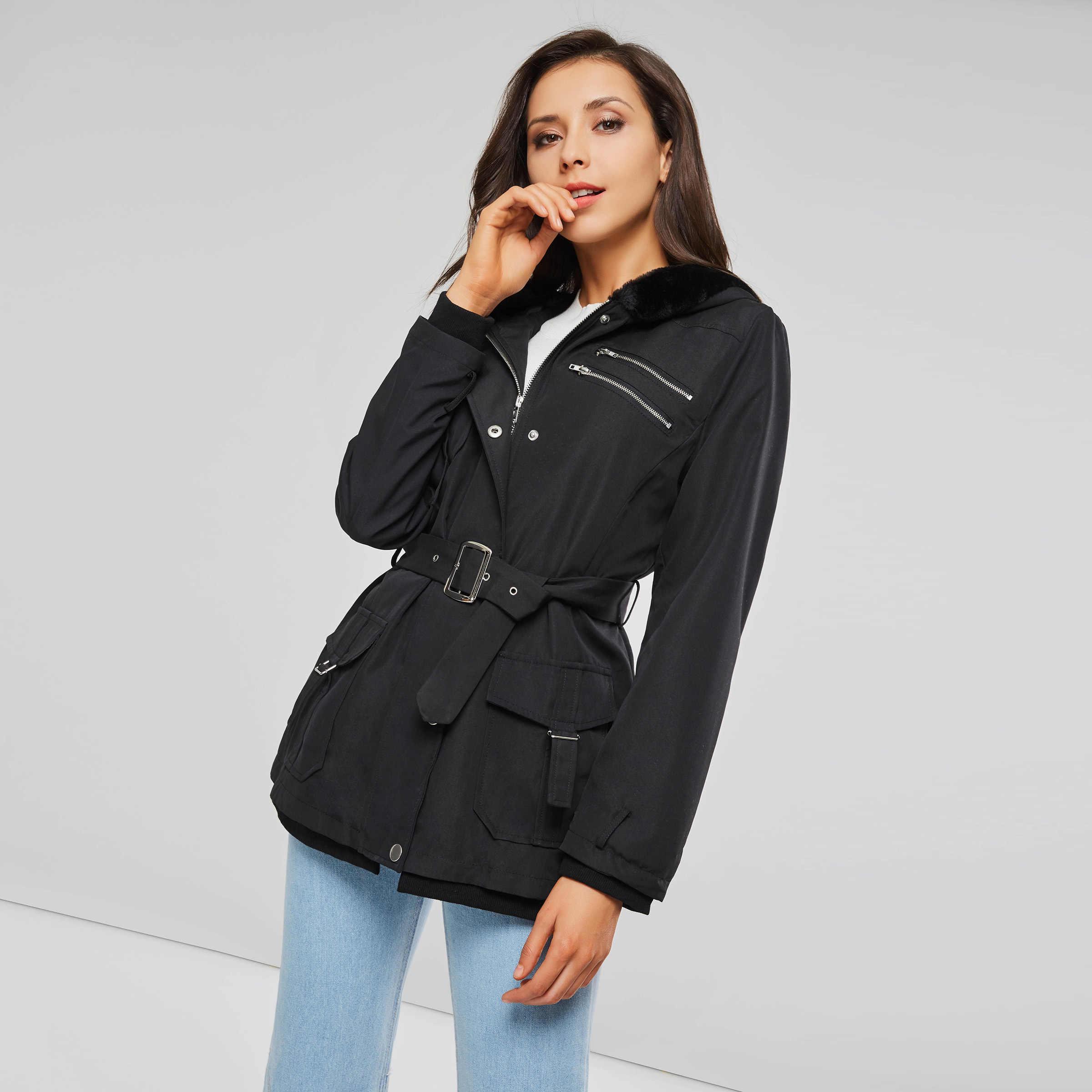 Черные женские пальто, повседневная куртка с капюшоном, пальто, модные, простые, уличные, тонкие, 2018, зимние, теплые, утолщенные, базовые Топы для женщин
