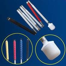 Aluminum Mobility Folding Cane For The Blind (Folds Down 7 Sections) , Cane Pouch——Blue Dennin